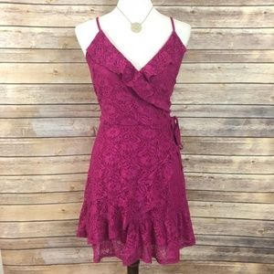 Nordstrom Love Fire Pink Lace Dress Size Large